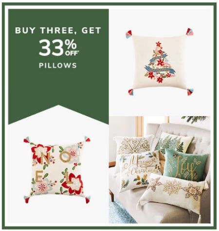 Buy 3, Get 33% Off Pillows from Pier 1 Imports