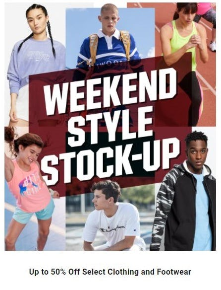 Up to 50% Off Select Clothing and Footwear