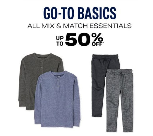 Up to 50% Off Go-To Basics from The Children's Place