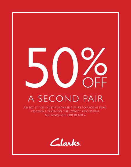 50% off a second pair from Clarks
