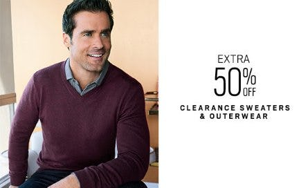 Extra 50% Off Clearance Sweaters & Outerwear from Men's Wearhouse and Tux