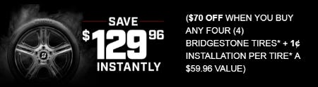 Save $129.96 Instantly on Bridgestone Tires from Costco