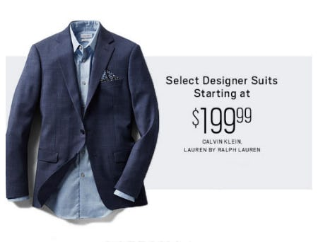 Select Designer Suits Starting at $199.99 from Men's Wearhouse