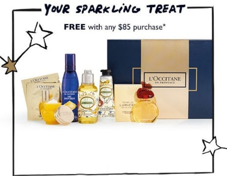 Your Sparkling Treat Free With Any $85 Purchase from L'Occitane