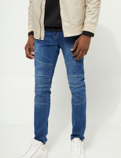 Flex Medium Wash Gel Moto Skinny Jeans from rue21