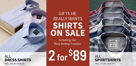 Shirts on Sale Including our Best-selling Traveler 2 for $89 from Jos. A. Bank