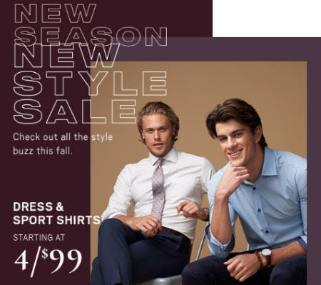 Dress & Sport Shirts Starting at 4 for $99 from Men's Wearhouse