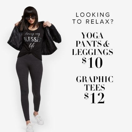 $10 Yoga Pants & Leggings & $12 Graphic Tees from New York & Company