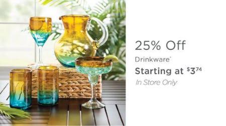 25% Off Drinkware from Kirkland's