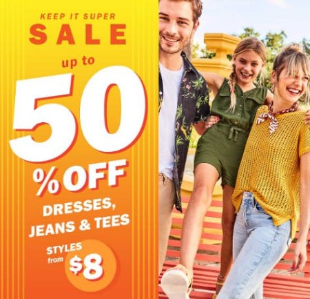 Up to 50% Off Dresses, Jeans & Tees from Old Navy