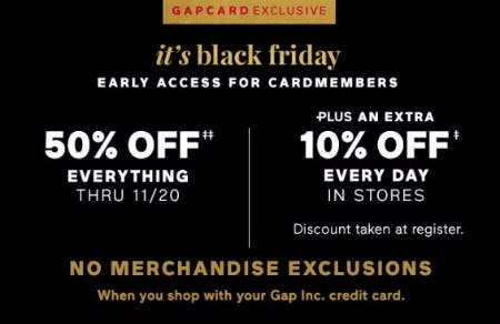 50% Off Everything Plus An Extra 10% Off Every Day
