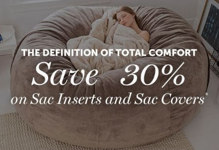 30% Off Sac Inserts and Sac Covers from Lovesac