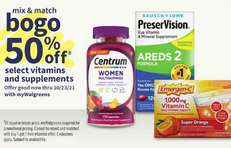 BOGO 50% Off Select Vitamins and Supplements