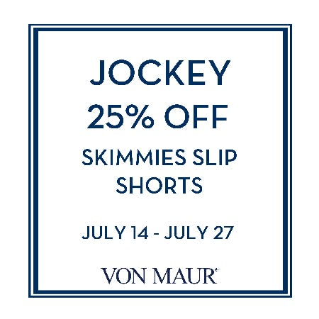 Jockey 25% off from Von Maur