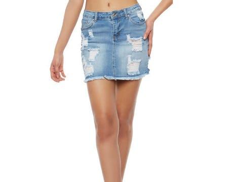 Wax Frayed Denim Mini Skirt