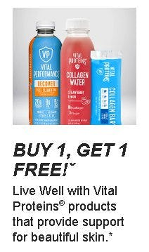 Buy 1, Get 1 Free on Vital Proteins Products from GNC
