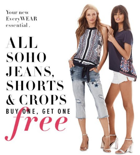 All Soho Jeans, Shorts & Crops Buy One, Get One Free from New York & Company