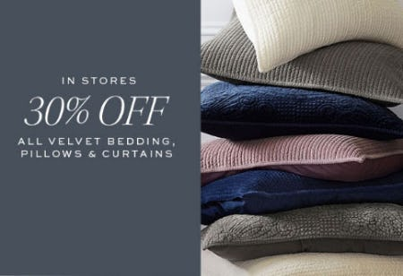 30% Off All Velvet Bedding & More from Pottery Barn