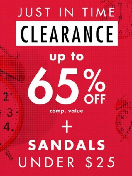 Clearance up to 65% Off plus Sandals Under $25 from DSW Shoes