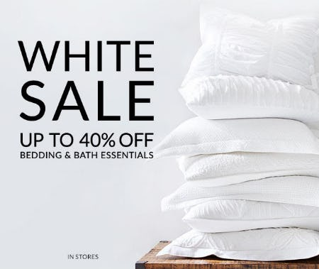 Up to 40% Off White Sale from Pottery Barn