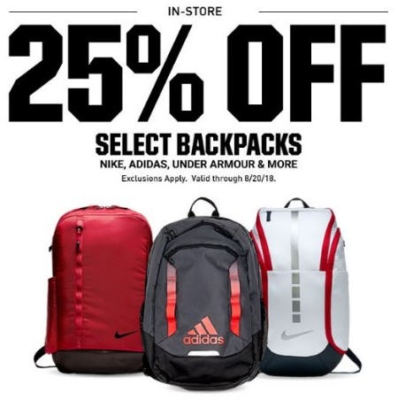 25% Off Select Backpacks from Dick's Sporting Goods