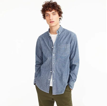 Stretch One-Pocket Chambray Shirt in Rinsed Indigo from J.Crew