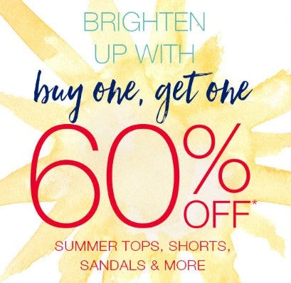 Buy One, Get One 60% Off Summer Tops, Shorts, Sandals & More