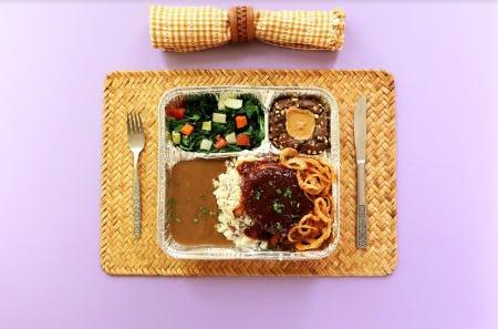 BBQ Bison Meatloaf TV Dinner from Lazy Dog Restaurant & Bar