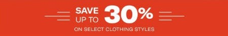 Up to 30% Off Select Clothing Styles