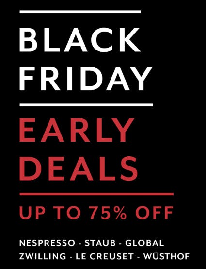 Up to 75% Off Black Friday Early Deals