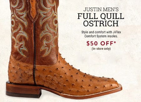 $50 Off on Justin Men's Full Quill Ostrich from Boot Barn