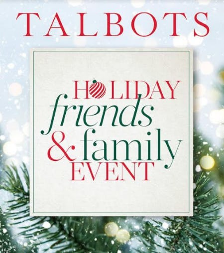Holiday Friends & Family Event from Talbots
