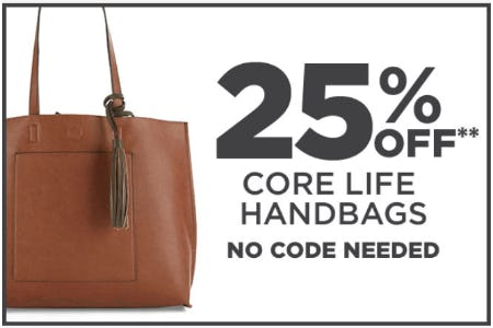 25% Off Core Life Handbags