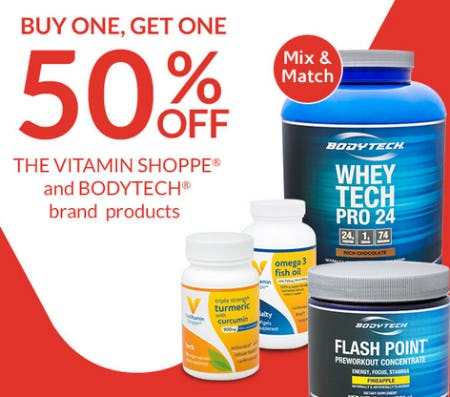 BOGO 50% Off The Vitamin Shoppe® and BodyTech® Brand Products from The Vitamin Shoppe