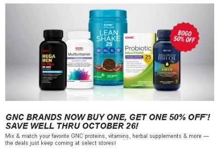 GNC Brands Now Buy One, Get One 50% Off from GNC