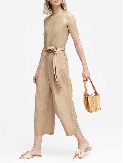 Cropped Linen-Blend Wide-Leg Jumpsuit from Banana Republic