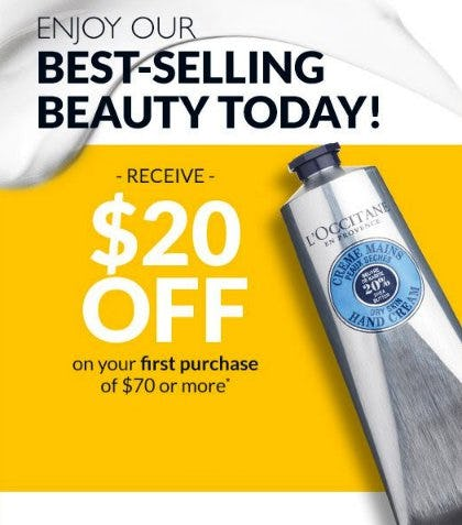 Receive $20 Off on Your First Purchase of $70 or More from L'Occitane