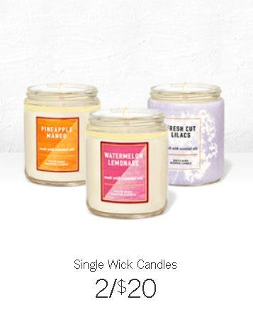 Single Wick Candles 2 for $20