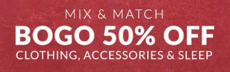 BOGO 50% Off Clothing, Accessories & Sleep