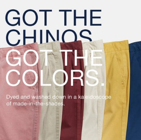 Our Best-Selling Chinos Now in your Favorite Color from Gap