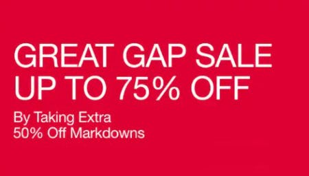 Up to 75% Off By Taking Extra 50% Off Markdowns from Gap