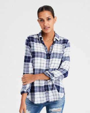 Ahhmazingly Soft Plaid Boyfriend Shirt from American Eagle Outfitters