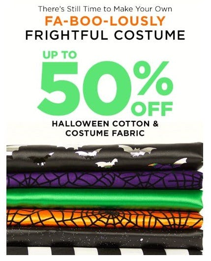 Up to 50% Off Halloween Cotton & Costume Fabric from Michaels