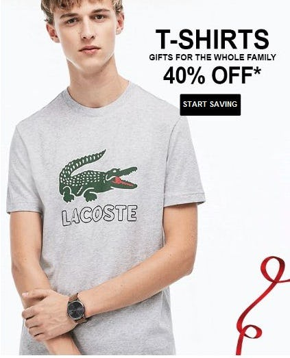 40% Off T-shirts for the Whole Family from Lacoste
