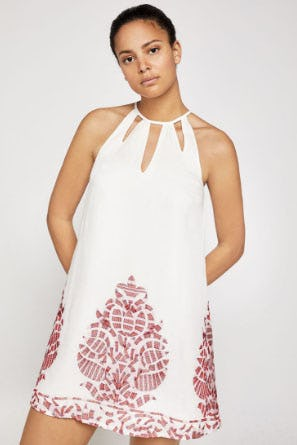 Embroidered Gauze A-Line Dress from BCBG