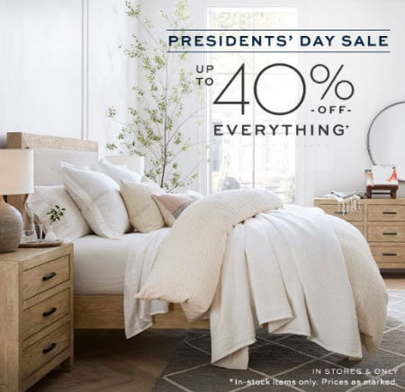 Up to 40% Off Presidents' Day Sale from Pottery Barn