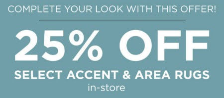 25% Off Select Accent & Area Rugs