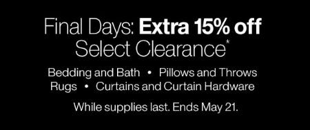 Extra 15% Off Select Clearance from Crate & Barrel