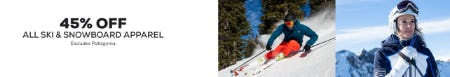 45% Off All Ski & Snowboard Apparel from Sun & Ski Sports