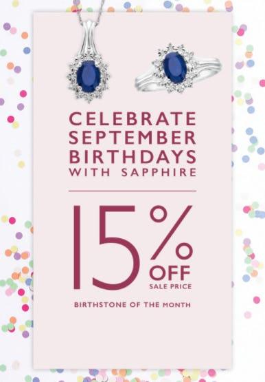 15% Off Sapphire Jewelry